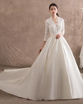 Long Sleeve Bridal Gowns Princess Charming Satin Plunge Lace