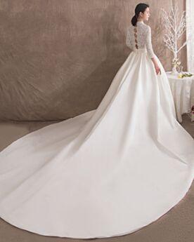 Tiefer Ausschnitt Lange Ärmel Brautkleid 2020 Spitzen Elegante Weiß