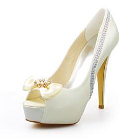 Decollete Con Perle Raso Platform Tacco Alto 13 cm Avorio Tacchi A Spillo Eleganti Scarpe Matrimonio