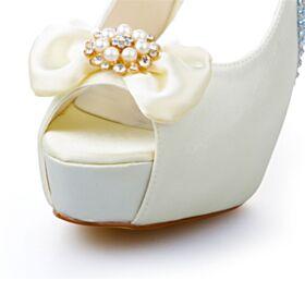 Escarpins Avec Perle 13 cm Talon Haut Avec Noeud Plateforme 2020 Chaussure Mariée Peep Toes Élégant