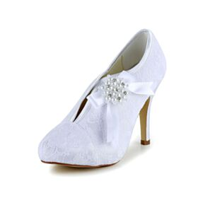 Pumps Dress Shoes Lace Stiletto White Pearls Wedding Shoes Charming 4 inch High Heel Round Toe