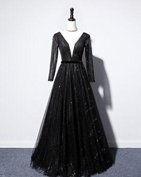 Princess Black Low Cut Prom Dress Sequin Long Tulle Beautiful Formal Evening Dress Long Sleeves