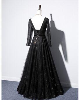 Ballkleid Rückenausschnitt Abendkleider Tiefer Ausschnitt Pailletten Schwarze Tüll Sexy