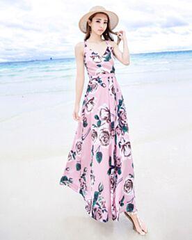 Rückenausschnitt 2018 Chiffon Maxi Rosa Boho Kleid Wickel Strandkleidung