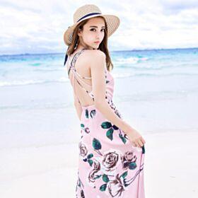 ラップ ドレス スパゲッティ オープンバック ビーチウェア 花柄 ロング シフォン ショッキング ピンク ワンピース 57720180508