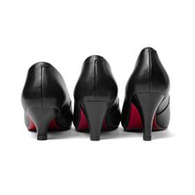 Stiletto Pumps Cone Heel Leren Rode Zool Zakelijke Schoenen Zwart 7 cm