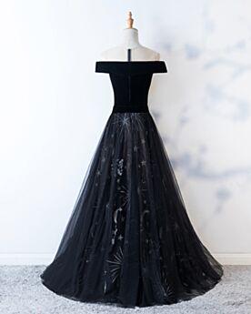 Bonitos Tul Largos Negro Espalda Descubierta Hombros Caidos Vestidos De Prom Fiesta Corte A