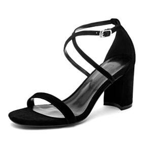 In Pelle Comode Sandali Eleganti Tacco Medio 7 cm Con Lacci Camoscio Neri