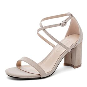 Modern Nude Mid Heels Suede Sandals Leather
