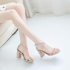 7 cm Heels Blokhakken Zakelijke Schoenen Sandalen Suede Leren