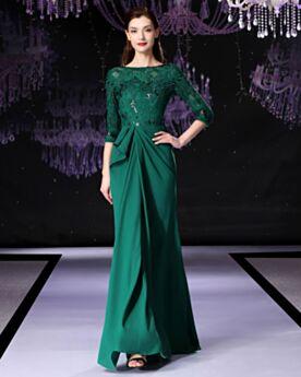 Dentelle Belle Princesse Longue Robe De Ceremonie Satin Modeste Vert Emeraude Perlage Robe Mère De Mariée