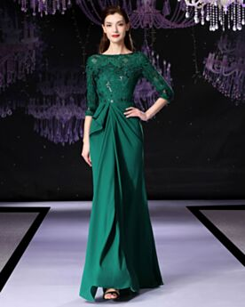 Evening Dresses Mother Of Bridal Dress Emerald Green Modest Lace 2019 Half Sleeve Elegant Long