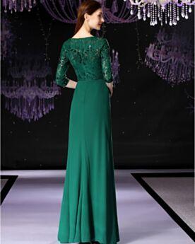 Perlen Volant Kleider Hochzeitsgäste Smaragdgrün Elegante Modest Satin Abendkleid Spitzen Halbe Ärmel Brautmutterkleid
