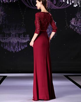 Mother Of Bridal / Groom Dress Long Satin Princess Evening Dresses Burgundy Lace Modest Beaded