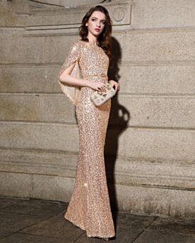 Lange Halve Mouw Strakke Gouden Bruidsmoederjurken Elegante Sparkle Avondjurk Pailletten