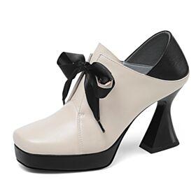 8 cm Tacon Alto Beige Zapatos Oxford Mujer Clasico Cuero