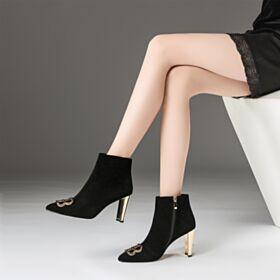 Klassisch Chelsea Boots Mit Absatz Gefütterte Damenschuhe Schwarz Stiefeletten Chunky Heel