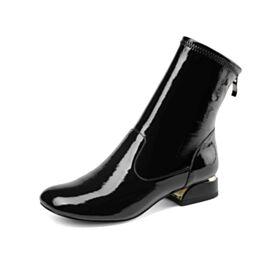 Enkellaarsjes Kitten Heels Lak Chelsea Boots Blokhakken Ronde Neus Leren Comfortable