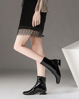 Schwarz Ankle Boots Mit Absatz Lack Gefütterte Bequeme Blockabsatz Chelsea Boots