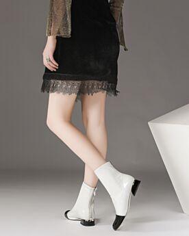 Comfort Weiß 3 cm Kitten Heel Stiefeletten Chelsea Chunky Heel Blockabsatz