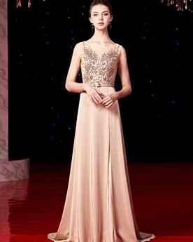 Slit Open Back With Rhinestones Long Champagne Elegant Formal Evening Dresses Bridesmaid Dress