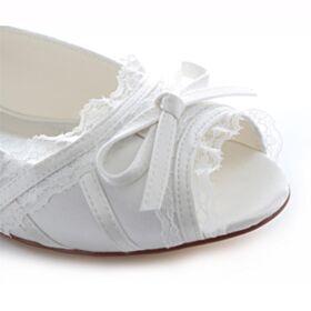 Vintage Bruidsschoenen Peep Toe Platte Met Strik Ballerina Schoenen