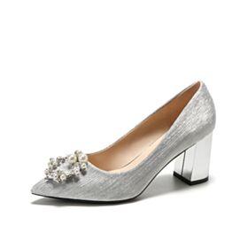 Zapatos De Novia Tacon Grueso Elegantes De Satin Perlas Tacon De 5 cm Plateadas Zapatos Mujer