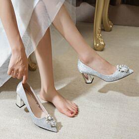 Talons Carrés Brillante Élégant Chaussure De Mariée  5 cm Talons Satin Glitter Bout Pointu Escarpins