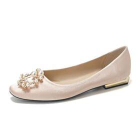 Color Champagne Zapatos Novia Con Perlas Planas 2020 Primavera Elegantes Zapatos Mujer
