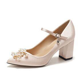 Color Champagne De Punta Fina Zapatos De Novia Elegantes Zapatos 7 cm Tacon Tacon Ancho