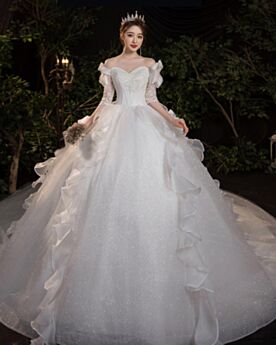 Ball Gowns Church Bridal Gown Gorgeous Sparkly Tulle Glitter Off The Shoulder Open Back White Charming Ruffle