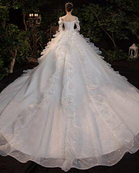 Blanco Brillantes Elegantes Purpurina Espalda Descubierta Vestidos De Novia Con Media Manga Con Volantes De Lujo Hombros Caidos Estilo Princesa