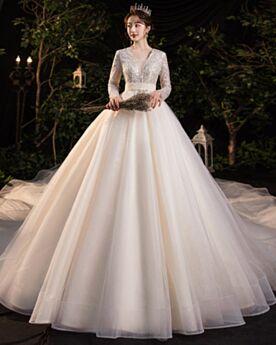 Doorkijk Bruidsjurken Luxe A Lijn Pailletten Lange Mouwen Glitter Laag Uitgesneden