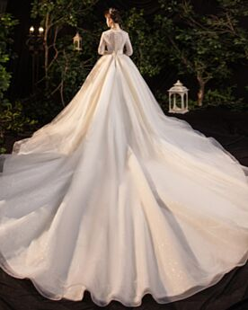 Charming Long Sparkly Sequin Wedding Dresses A Line Ivory Luxury Low Cut Long Sleeved Glitter