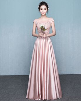 Empire Backless Bridesmaid Dress 2018 Sleeveless Elegant Lace Blush Pink Appliques