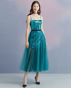 Cocktail Dresses Sparkly Sequin Ankle Length Open Back Tulle Sleeveless Homecoming Dress Green