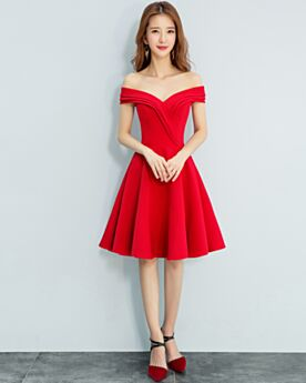 Pleated Plunge Mini Red Fit And Flare Open Back Cocktail Dress