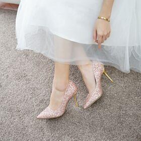 A Punta Scarpe Da Cerimonia Glitter Decoltè Tacco A Spillo Scarpe Sposa Con Tacco Alto Oro Rosa