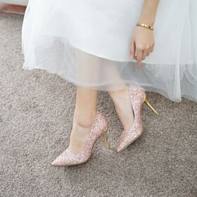 Stilettos Zapatos De Quinceañera Zapatos Oro Rosa Zapatos Para Boda Brillantes Tacones Altos Zapatos Para Fiesta