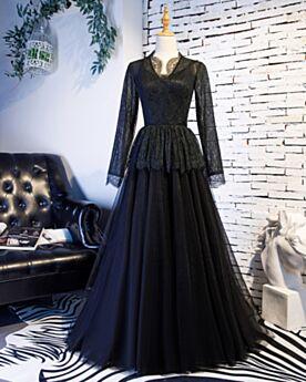 Prinzessin V Ausschnitt Schößchen Schwarze Abendkleid Spitzen Rüschen Ballkleid Schönes 2019 Lange Ärmel Kleider Für Festliche Brautmutterkleider