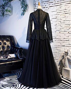 Princesse Robe De Soirée Noir Tulle Élégant Robe De Bal Longue Dentelle Peplum 2019 Modeste