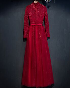 Fit And Flare Long Evening Dress Beading Mother Of Bridal Dress Appliques Modest Lace 2019 Long Sleeved Charming Burgundy