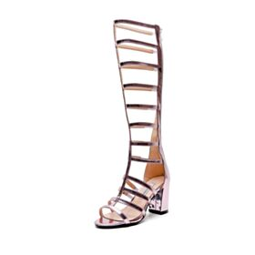Pink 7 cm Heeled Block Heel Leather Sexy Sandals Gladiator