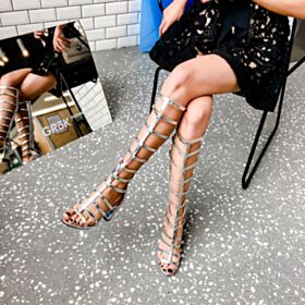 7 cm Mid Heel Gladiator Mid Calf Boots Leather Fashion Silver Thick Heel Sexy Sandals Block Heel