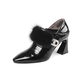 Fashion Black Comfort 8 cm High Heel Plush Ankle Boots Office Shoes Patent Pointed Toe Leather