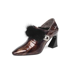 Leather Fur Lined Chunky Heel Ankle Boots 8 cm High Heel Work Shoes