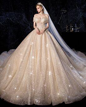 2020 Vestiti Da Sposa Glitter Scollo A Barca
