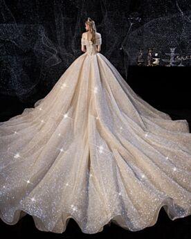 Epaule Dénudée Boule Glitter Brillante Robe De Mariée Dos Nu Avec La Queue