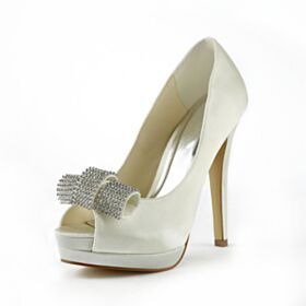 13 cm High Heel Wedding Shoes Open Toe Pumps Stiletto Platform Elegant
