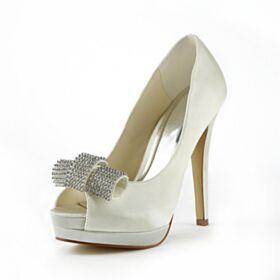 Stiletto De Satin Zapatos De Novia 13 cm Tacon Alto De Plataforma Zapatos Mujer